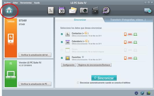 La sincronización es con respecto a contactos calendario y mensajes.