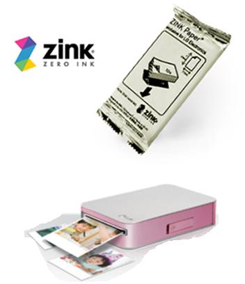 Ejemplo del papel zinl y de la impresora pocket