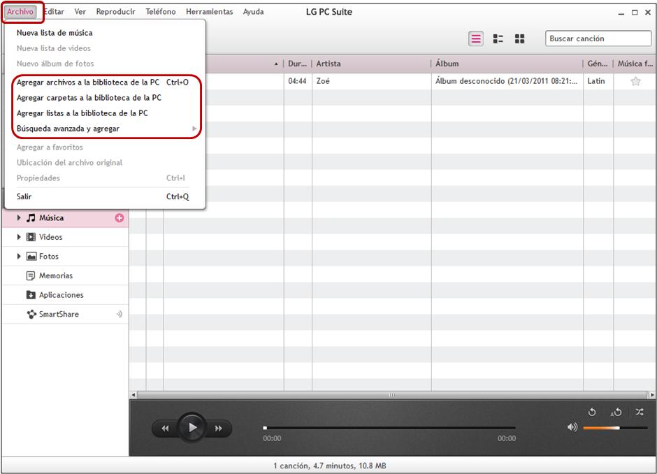 """Primero tiene que agregar un archivo multimedia a su """"Biblioteca del PC"""", para lo cual sólo tenemos que pulsar sobre """"Archivo"""" en la barra de herramientas del PC Suite y pulse sobre """"Agregar archivo a la biblioteca de la PC""""."""