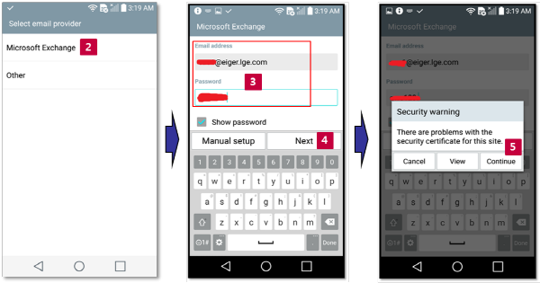 Set up Exchange mail account on LGEmail app for LG models