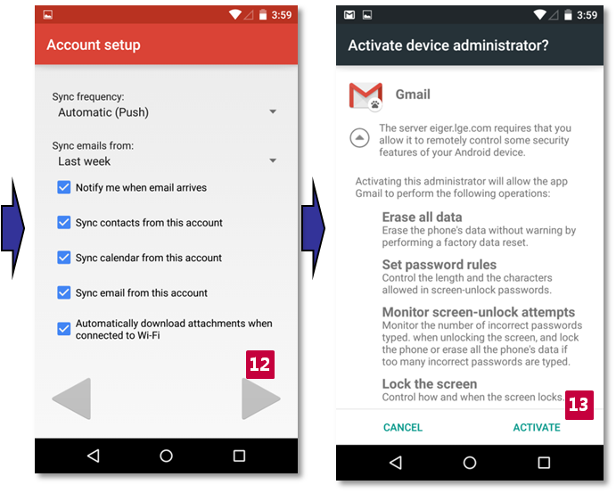 Set up Exchange mail account on Gmail app for Nexus models