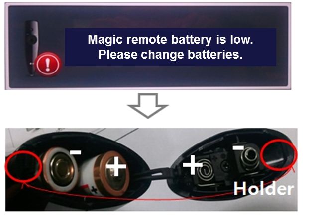 Recharge-battery message appears on TV screen
