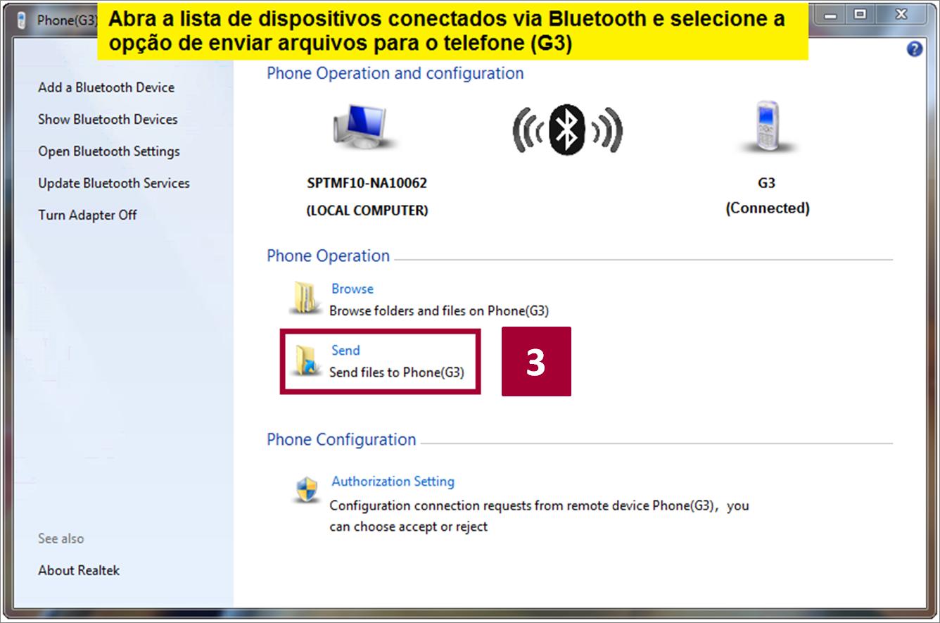 Enviar arquivos do seu PC para o G3 via Bluetooth