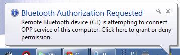 Enviar arquivos do seu G3 para o PC via Bluetooth
