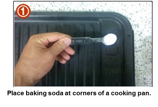 Place baking soda at corners of a cooking pan.