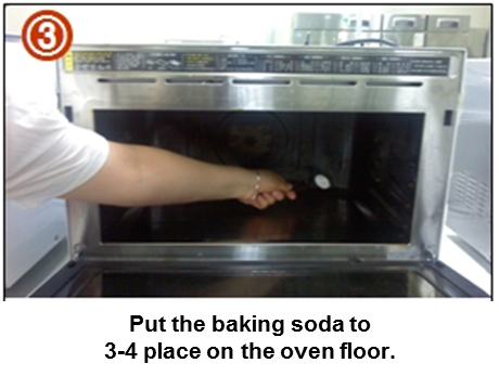 Put the baking soda to 3-4 place on the oven floor.