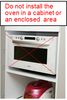 Do not install the unit in a cabinet or an enclosed area.