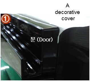 a decorative cover is caught on the product door.