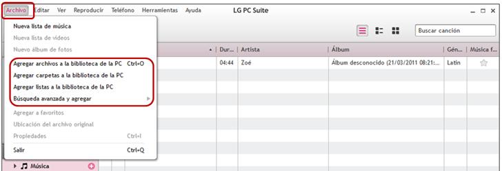 Agregar archivo a la biblioteca de la PC