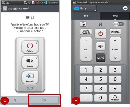 """4. En las siguientes acciones le pedirá que apuntando a la TV pulse los botones de """"Estado"""", """"Mute"""" y """"Entrada"""", en cada uno debe de pulsar la tecla de """"OK"""" si la TV responde el comando. 5. Al finalizar, le presenta la pantalla del control remoto, con las secciones de encender, mute, cambiar de canales, etc."""