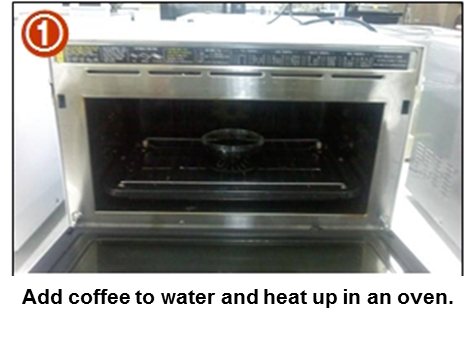 Add coffee to water and heat up in an oven.