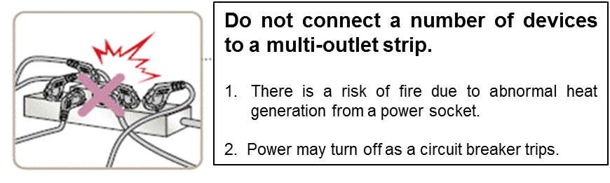 Do not plug in many appliance to a multi-outlet strip at the same time.
