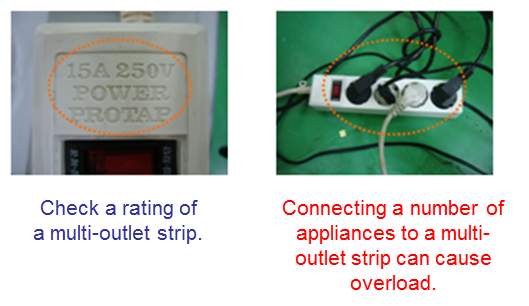 Check a rating of a multi-outlet strip  and do not connect a number of appliances to a strip at the same time