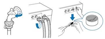 Cierre el grifo del agua y desenchufe el cable de alimentación