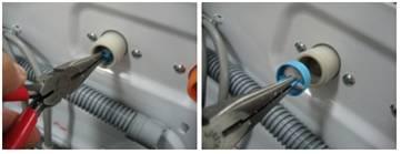 Retire la manguera de entrada girando en sentido contrario a las manecillas del reloj y retire el filtro de la lavadora