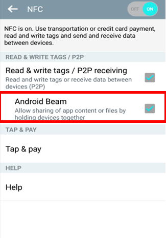 Check Android Beam
