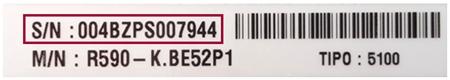 Número de série na etiqueta