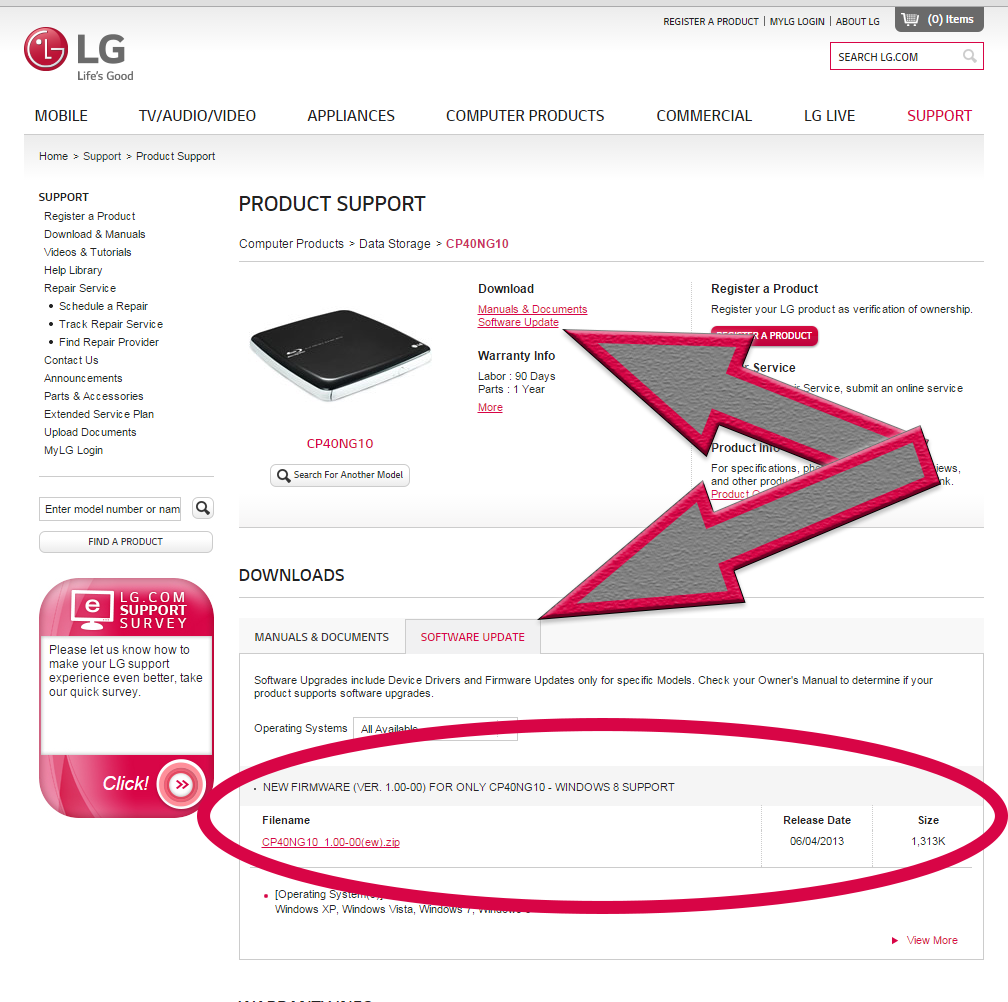 LG website showing arrows pointing towards to current firmware on the screen