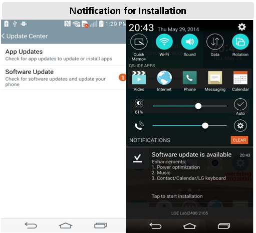 notification for installation
