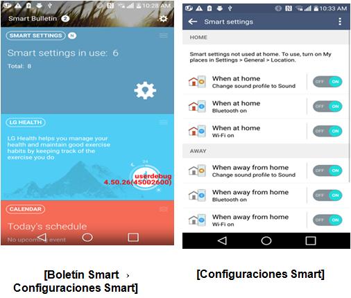 Menú y configuración del boletín smart