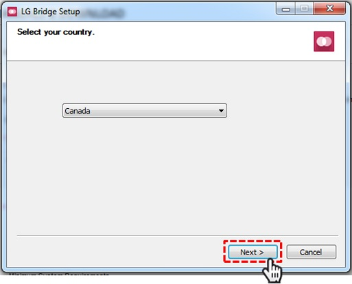 LG Bridge software - Country selection