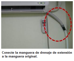 Conexión de la manguera de drenado.
