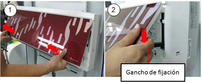 1. Saque el panel frontal hacia delante con las dos manos.  2. Presione el gancho para fijar el panel frontal