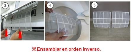 3. Retire el filtro de aire. 4. Proporcione al filtro una buena limpieza con una aspiradora o un cepillo suave.  Lavar con agua ayuda a eliminar tierra. 5. Seque completamente. Coloque de nuevo el filtro y cierre el panel frontal