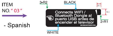 Ejemplo de las etiquetas para las instrucciones de uso