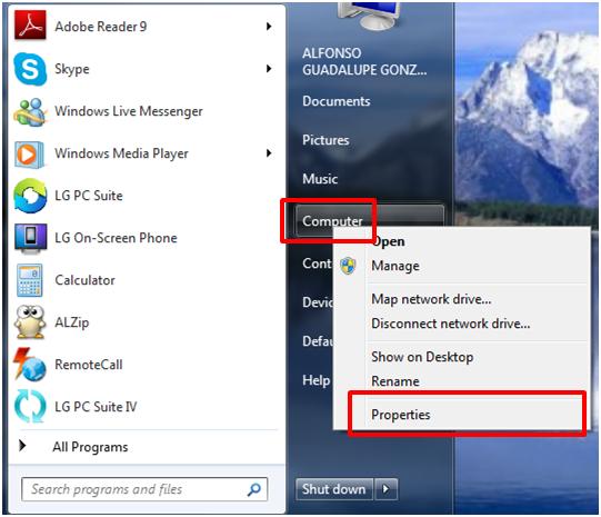 Botón de Equipo, Computadora o Mi PC
