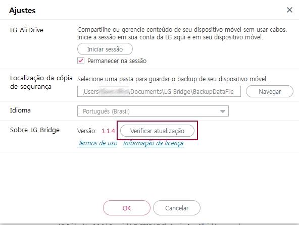 Tela LG Bridge