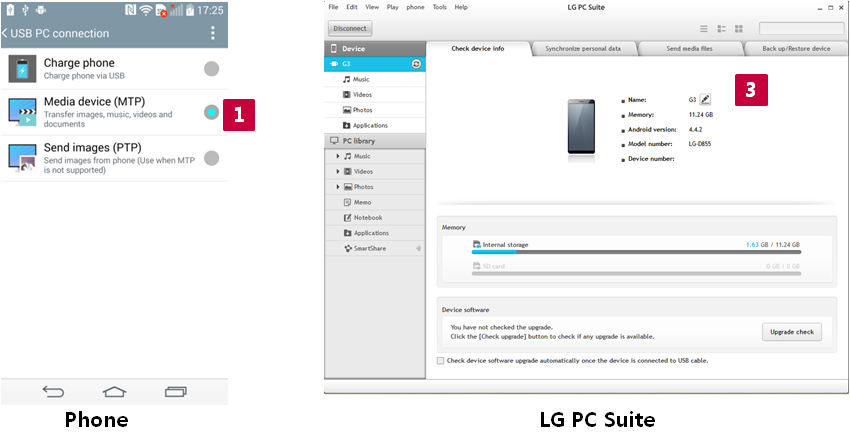 2.1. Seleccione el modo de MTP. 2.2. Inicie la herramienta de PC Suite. 2.3. Compruebe la conexión entre la herramienta de PC Suite y el teléfono.