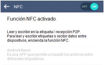 Función NFC activado